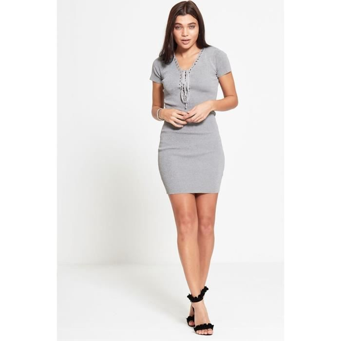 Robe Moulante Grise A Lacets Gris Achat Vente Robe Cdiscount