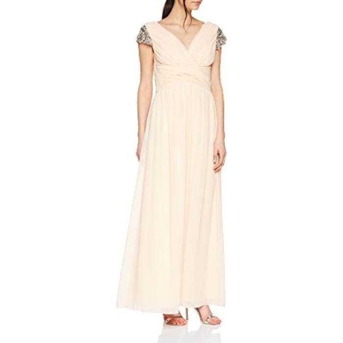 Robe Bhlj4 Nude Jewel Sleeve Maxi Dress Cocktail Plain V Neck De Soiree A Manches Courtes Taille 36 Beige Achat Vente Robe De Ceremonie Cdiscount