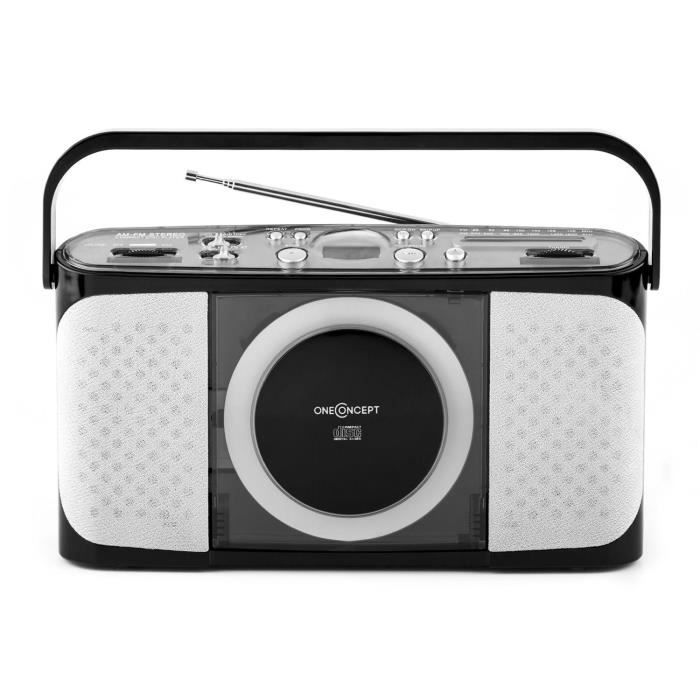 oneconcept boomtown beach poste lecteur cd usb radio cd cassette avis et prix pas cher. Black Bedroom Furniture Sets. Home Design Ideas