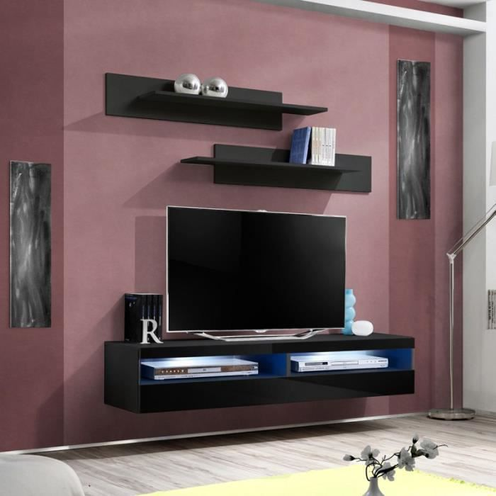 paris prix meuble tv mural design fly iv 160cm noir achat vente meuble tv paris prix. Black Bedroom Furniture Sets. Home Design Ideas