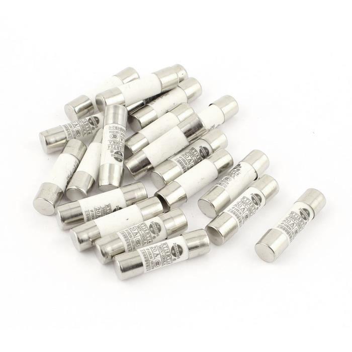 sourcingmap/® 20 pcs RO15 RT18 RT14 Tube cylindrique en c/éramique fusible 2A 380V 10x38mm