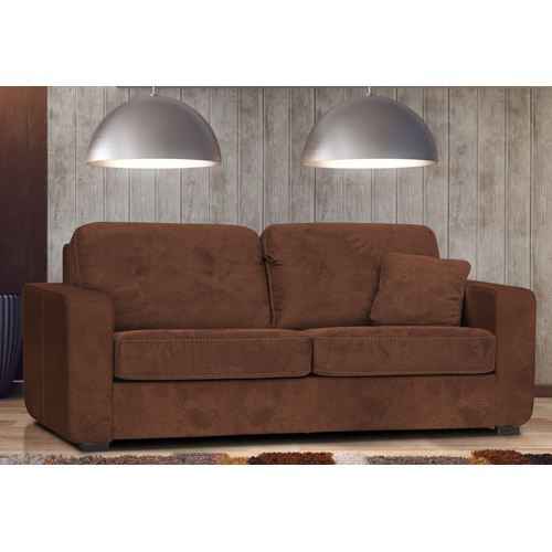 canap 3 places chocolat convertible en lit pour un couchage. Black Bedroom Furniture Sets. Home Design Ideas