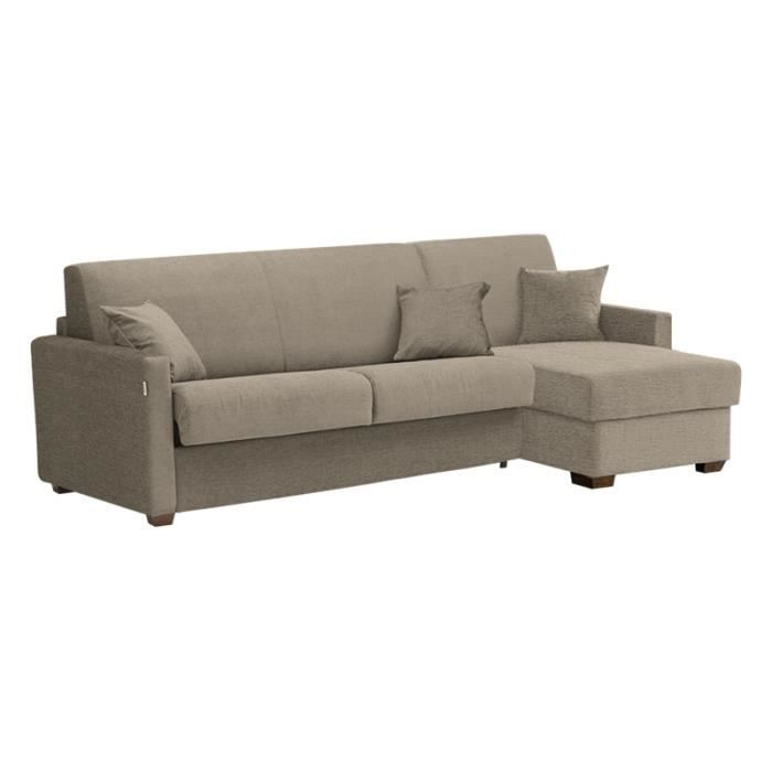 Canap lit d 39 angle star tissu taupe 140x190 achat vente canap sofa - Canape convertible 140x190 ...