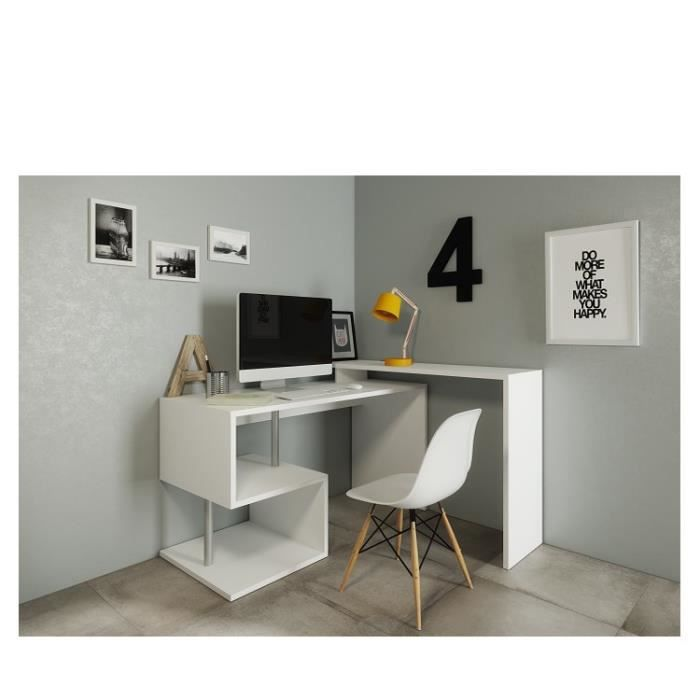 zig bureau angle 140 130x60x88 cm blanc laqu achat vente bureau zig bureau angle blanc. Black Bedroom Furniture Sets. Home Design Ideas