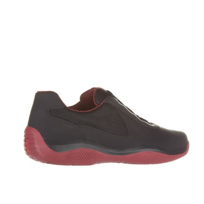 Chaussures baskets sneakers homme en cuir vitello rubber bike Prada