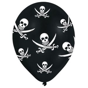 BALLON DÉCORATIF  Lot de 6 Ballons - Latex - Têtes de mort - Imprimé