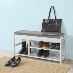 MEUBLE À CHAUSSURES SoBuy® FSR47-W Banc à Chaussures avec Assise et ti