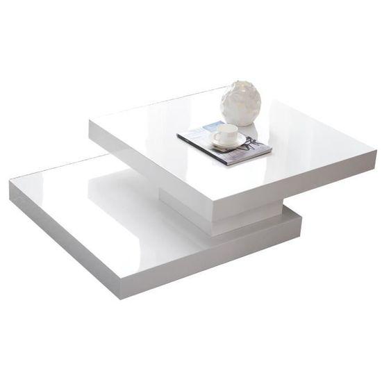 Table Basse Carrée à Plateau Pivotant Design Blanc Laqué