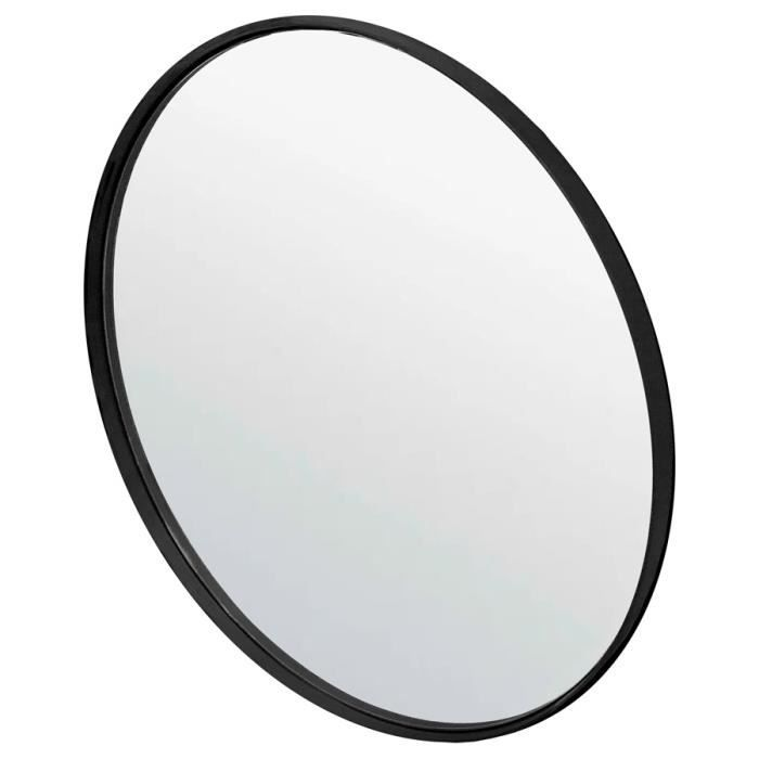 Miroir design rond noir 'BELLO' avec une structure en métal