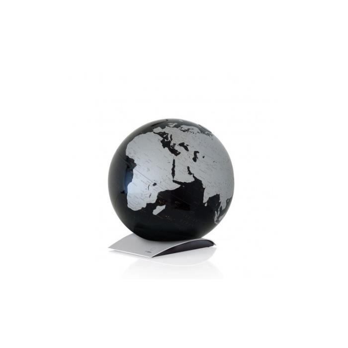 Globe terrestre à poser sur socle design noir métallisé