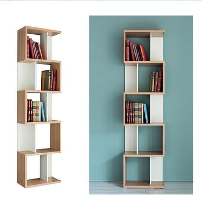 HAMP Bibliothèque étagère en Forme S Meuble de Rangement, Design Contemporain 5 étagères coloris chêne blanc, pour Bureau/Salon