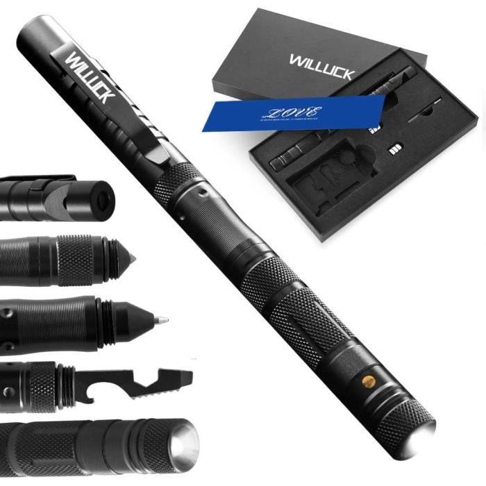 Stillcool® Tactical Pen Self Defense,stylo d'auto-défense, lampe de poche LED,outil de survie en plein air