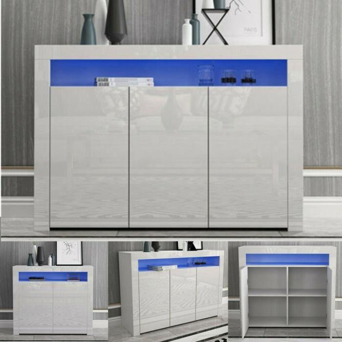 BETTY Buffet bas LED contemporain blanc laqué en bois avec 3 portes — H130CM