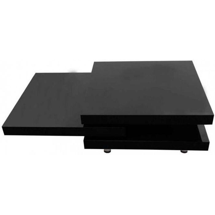 Tables basses Table basse noir laque carree pivotante 3 plateaux