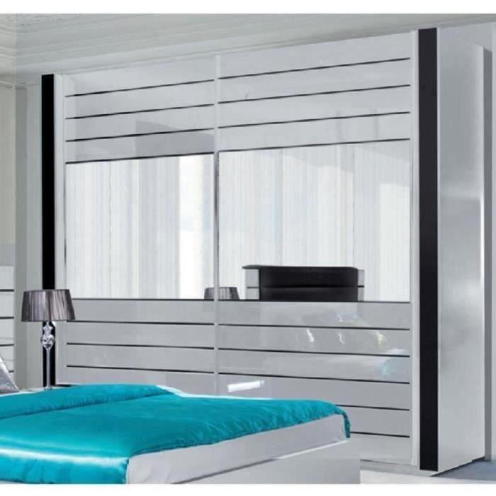 Armoire LINA blanche et noire laquée tout équipée. Meuble design pour votre chambre à coucher