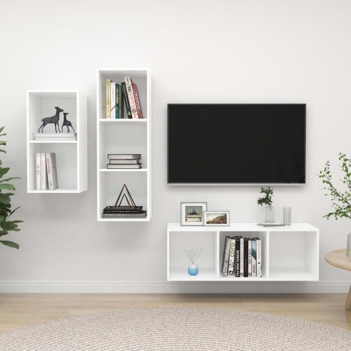 Unique MEUBLE TV MURAL COMPLET Ensemble de meuble TV 3 pcs Ensemble de meuble TV suspendu Blanc Aggloméré 3231
