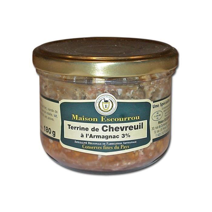 Bocal de terrine de chevreuil à l'Armagnac. Une spécialité de la Maison Escourrou. Viande de Chevreuil 30%, Armagnac 3%. bocal en v