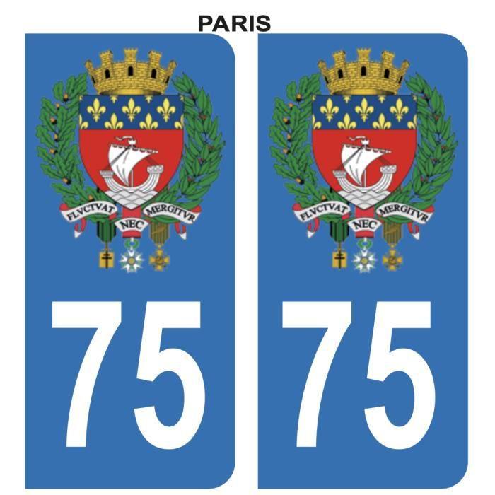 Autocollant Stickers plaque immatriculation voiture auto 75 Bleu Blason Ville Paris Lot de 2
