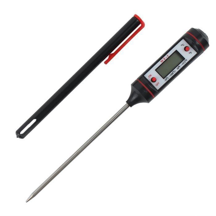 Thermomètre électronique de cuisine de sonde de BBQ de cuisine thermomètre de nourriture noir et orange