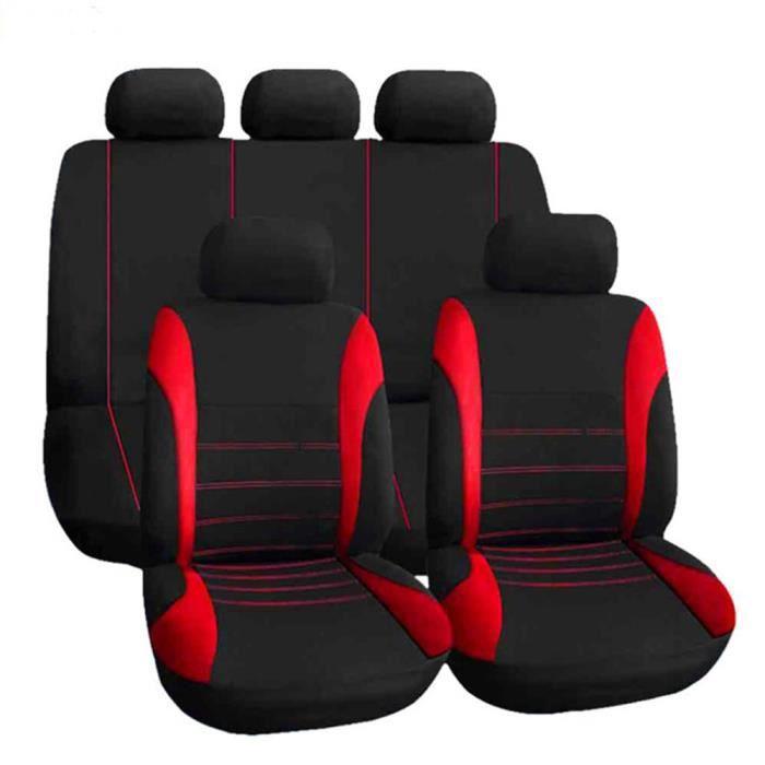 Housses de siège de voiture 9 pièces - Accessoires d'intérieur pour voiture, camion, SUV, ou Van po Rouge