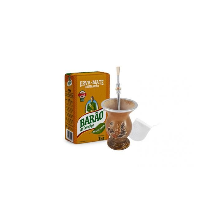 Kit complet pour Chimarrão (Yerba Mate 1kg + Gourde et Pompe pour chimarrão + filtre pour pompe)