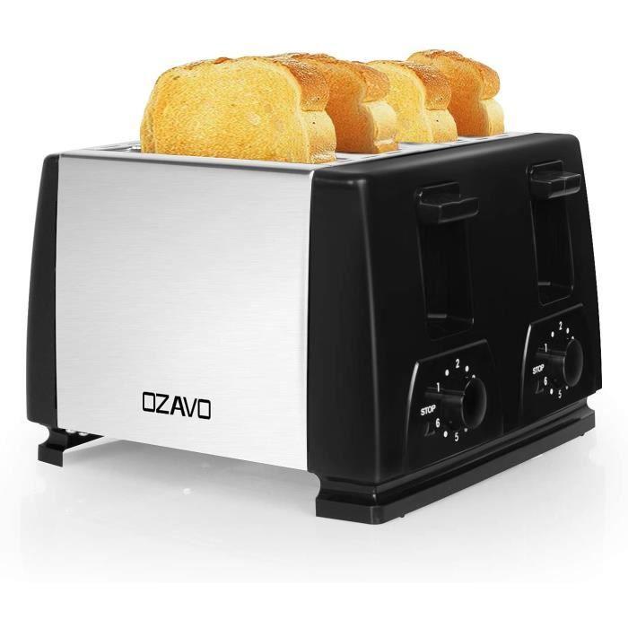 OZAVO Grille Pain Noir 4 Tranches Automatique 1300W Toaster Grille Pain Inox Professionnel 6 Niveaux Réglable 4 Fentes Plateau de Mi