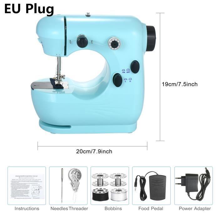 MACHINE A COUDRE,Machine à coudre électrique pour ménage voyage débutant bricolage masque facial 2 vitesses Double - EU Plug #B