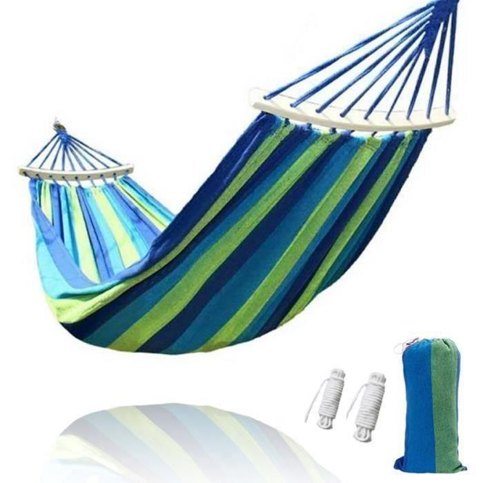 Toile Rayée Hamac, Double Hamac Confortable Loisir, pour Camping & Randonnée & Voyage & Plage - Bleu Bo22529