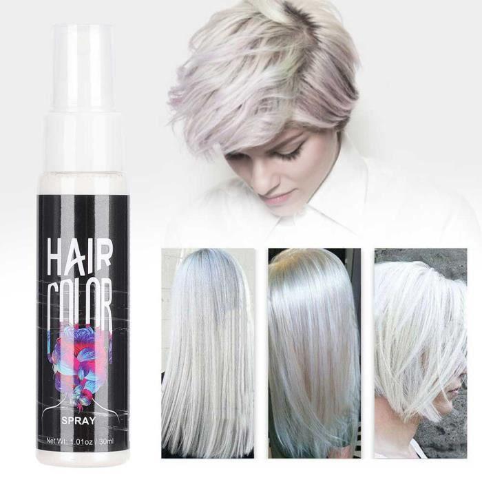 Teinture pour cheveux Spray DIY de Colorant Cheveux Jetable Unisexe Nourrissant Temporaire Modélisation de Salon 30ml(blanc )