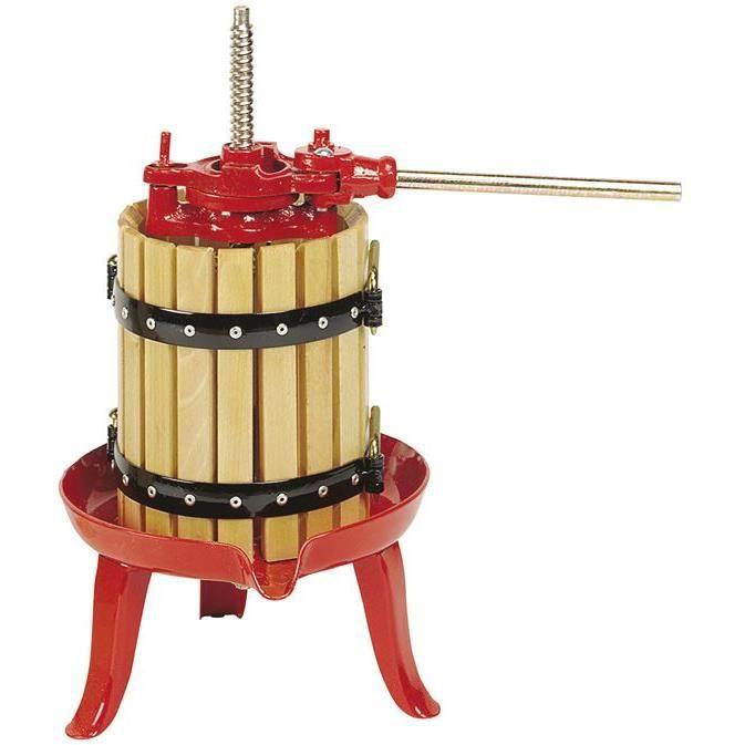 BOUCHONNERIE JOCONDI Pressoir à cliquet - 10 L - Diamètre 20 cm - Bois hêtre et rouge