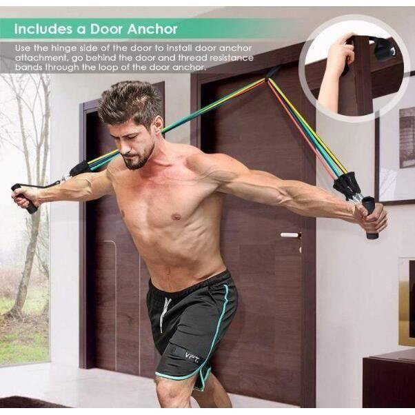 DUYAER® Bandes de Resistance Elastiques Musculation Set, Latex Fitness Exercice Bands Kit avec Ancre de Porte/Poignées/Sangle de Ch