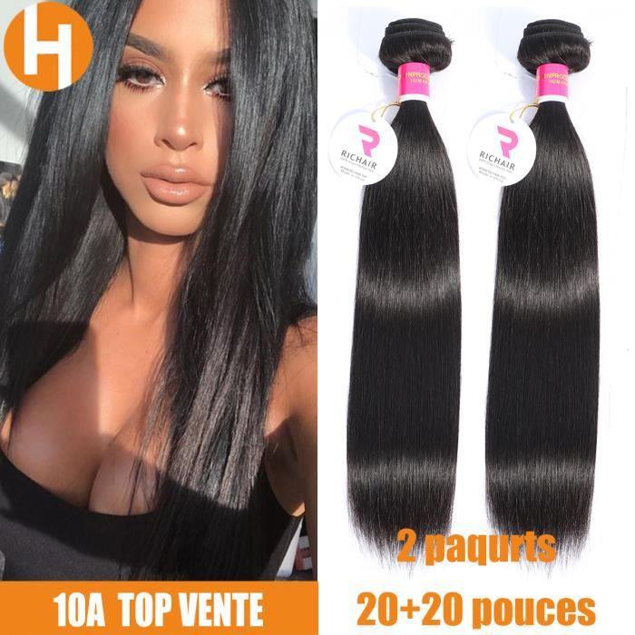 2 tissage Bresilien naturel lisse cheveux humains 20 Pouces,50g-piece HAIRICH