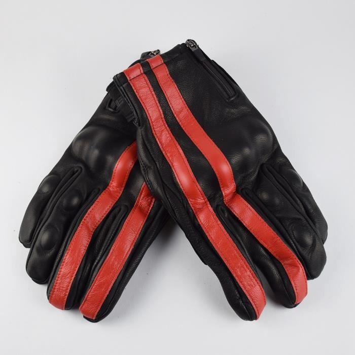 Gants de moto,Gants de Moto rétro marron pour hommes, en cuir véritable, pour écran tactile, Vintage, pour Motocross