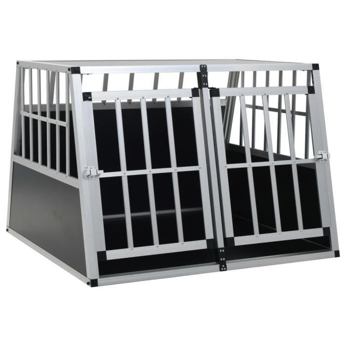 Cage pour chien à double porte 94 x 88 x 69 cm CAISSE DE TRANSPORT