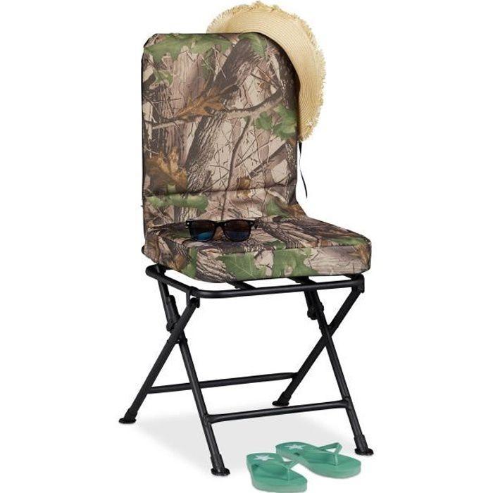 Relaxdays Chaise de camping, Pivote à 360°C, Fauteuil de pêche pivotant plage pliante pliable, 100 kg, vert