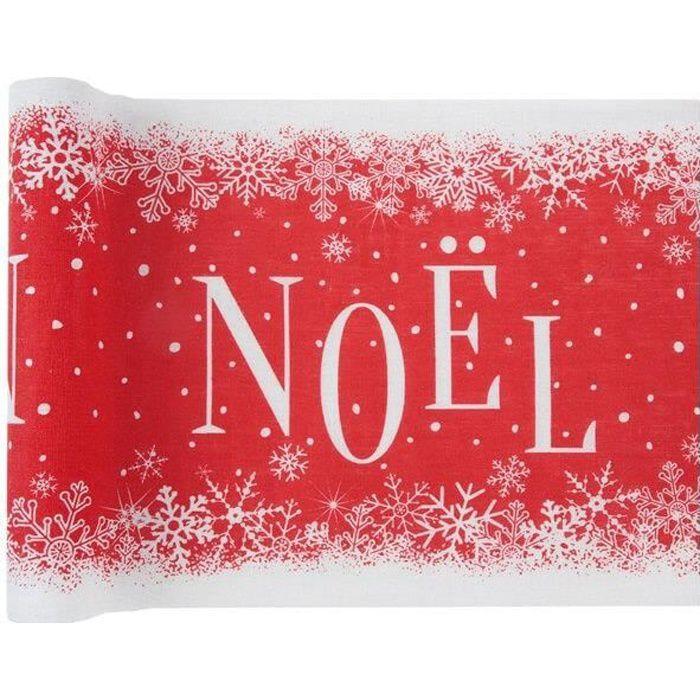 Chemin de table élégant Noël enneigé rouge et blanc 3m x 28cm (x1) REF/6965