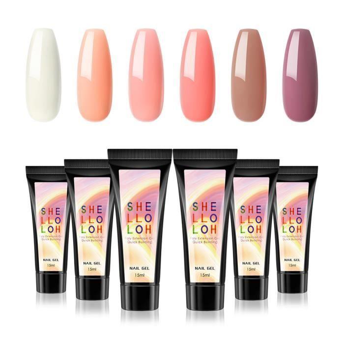 Shelloloh 6 Couleurs Semi Permanent Polish Poly UV Extension Gel Polish Complet Nail Coloré Gel LED Vernis à Ongle Kit Manucure