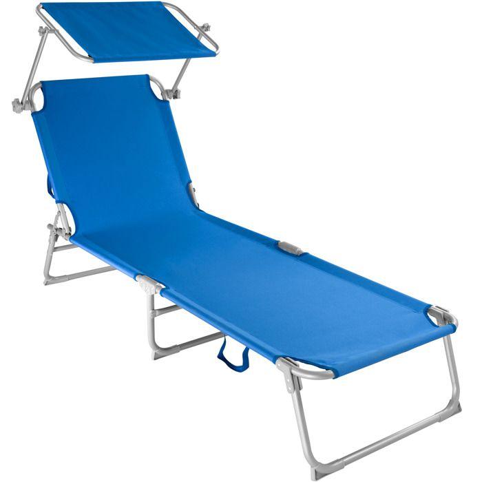 TECTAKE Transat Jardin de Bain Pliant Inclinable avec Pare Soleil en Acier 190 cm Bleu