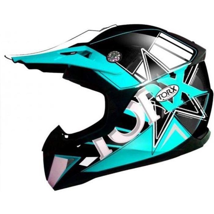Casque intégral de motocross bleu pour enfant Torx Peter Fluo blue Taille S