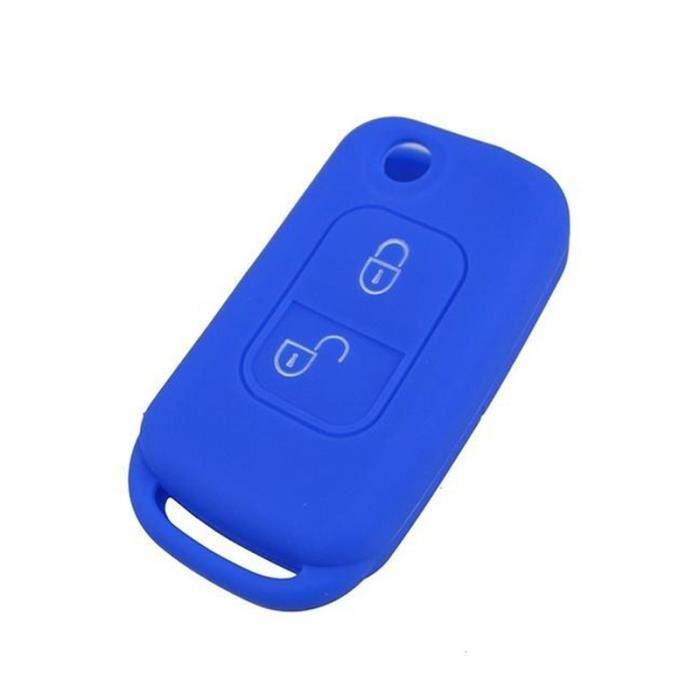 Coque de protection en silicone de haute qualit/é pour cl/é de voiture /à 3/boutons Peugeot Bleu