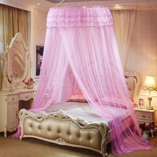 moustiquaire de lit double ciel de lit fille princesse accessoire d coration romantique rose. Black Bedroom Furniture Sets. Home Design Ideas