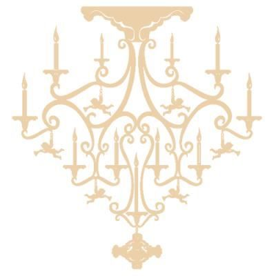 sticker lustre avec anges style baroque pour 80 x 74. Black Bedroom Furniture Sets. Home Design Ideas
