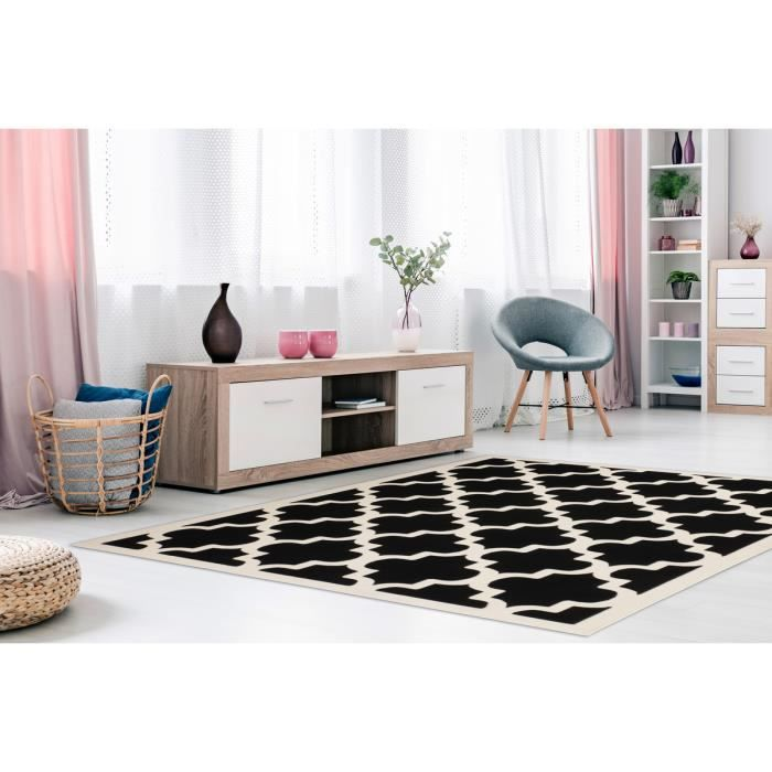 Tapis Flachflor Arabesque Scandic design moderne noir blanc 160x230cm