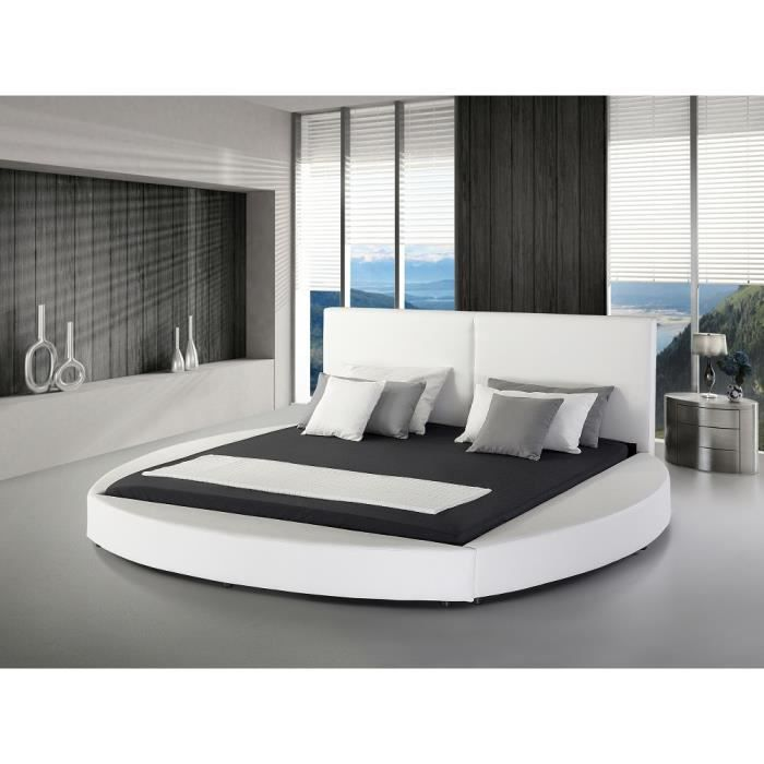 lit design en cuir lit rond 180x200 cm blanc sommier inclus laval achat vente. Black Bedroom Furniture Sets. Home Design Ideas