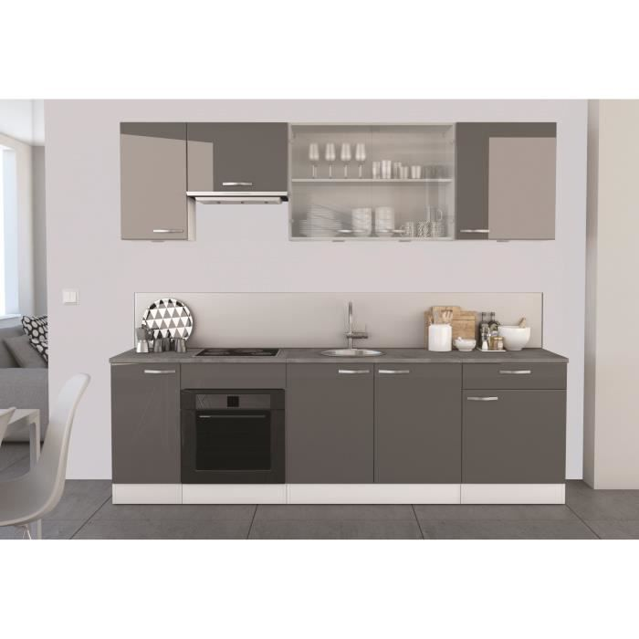 spicy cuisine compl te 260 cm gris blanc achat vente cuisine compl te spicy cuisine compl te. Black Bedroom Furniture Sets. Home Design Ideas