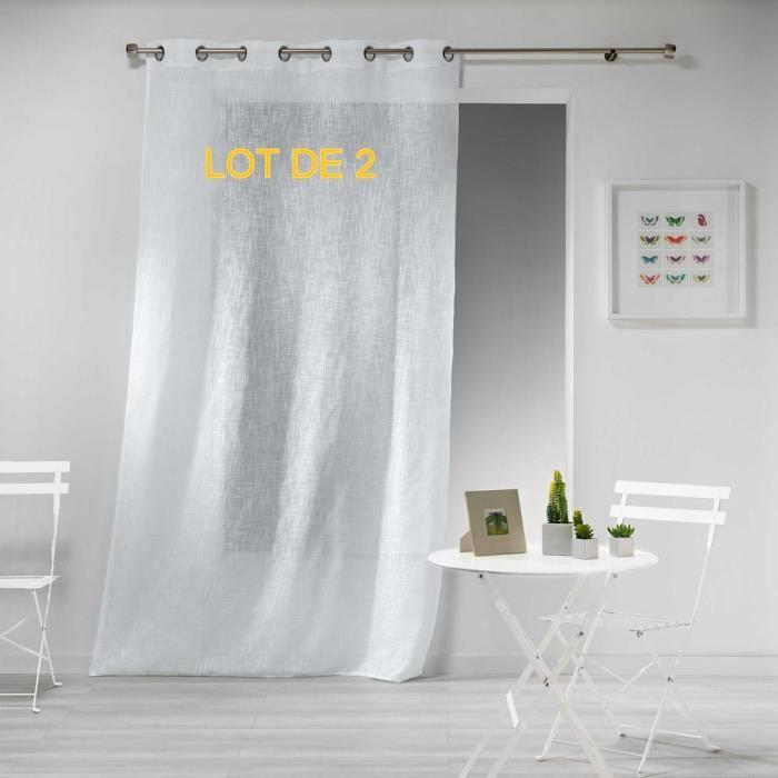 Douceur dInt/érieur CDaffaires Lot de 2 Panneaux a Oeillets 140 x 240 cm Voile Imprime Transfert mirade Menthe