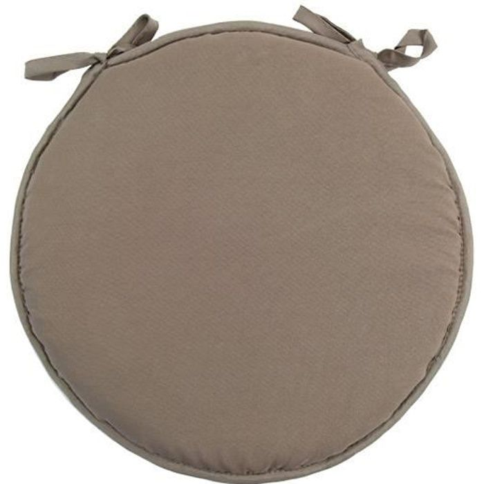 Galette de chaise ronde gamme nelson taupe achat vente for Galette ronde de chaise