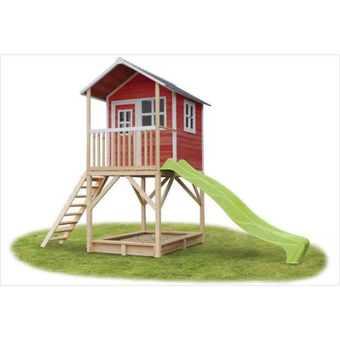 MAISONNETTE EXTÉRIEURE Cabane en bois avec toboggan Loft 700 Rouge