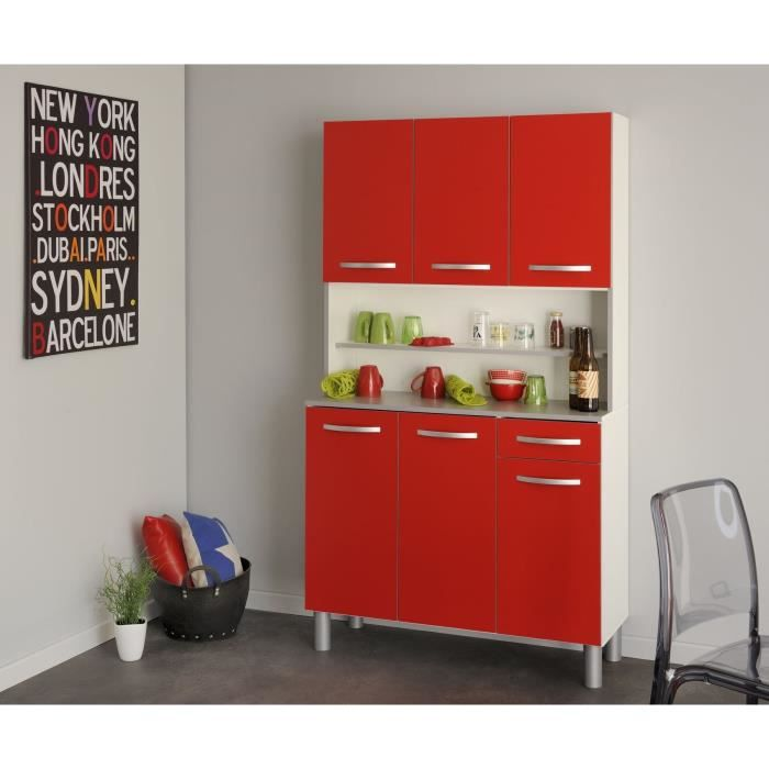 harmony buffet de cuisine 101cm rouge achat vente buffet de cuisine harmony buffet 101 cm. Black Bedroom Furniture Sets. Home Design Ideas