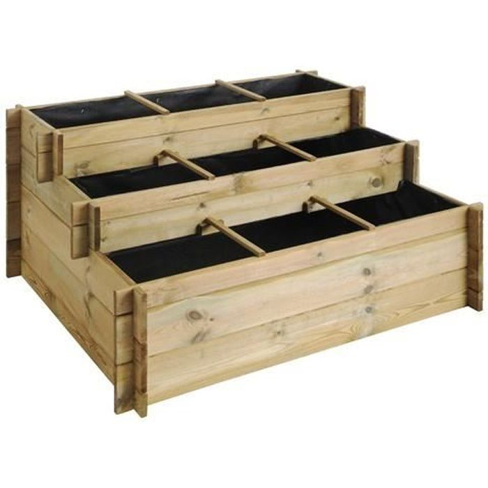 carr potager 3 tages bois autoclave jardipolys achat vente carr potager table carr. Black Bedroom Furniture Sets. Home Design Ideas